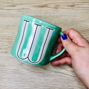 "Anthropologie "" W "" mug turquoise hang painted"